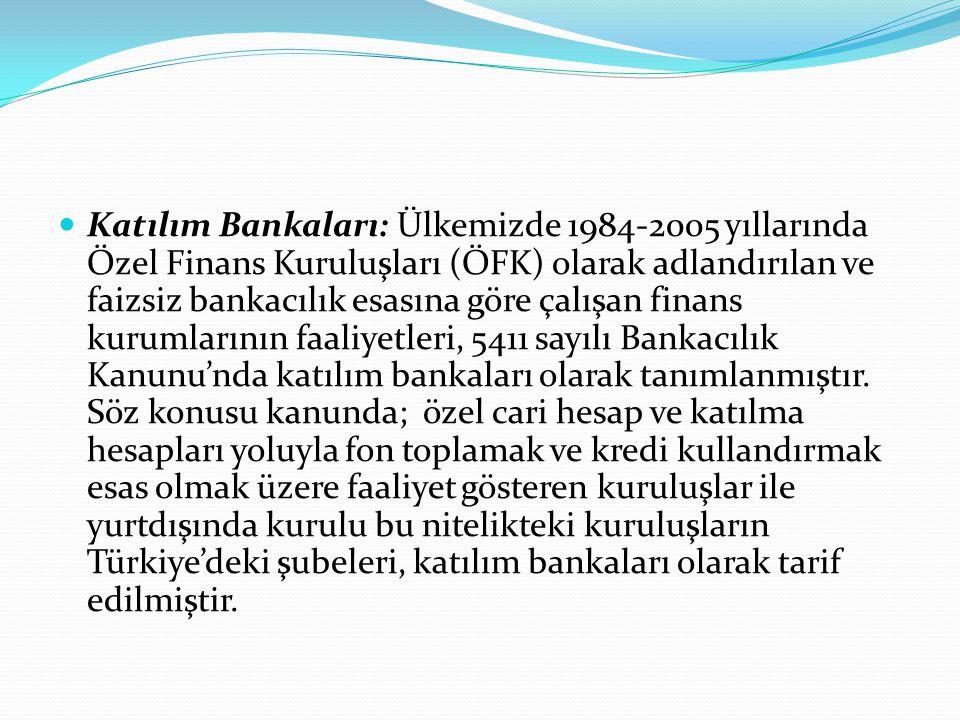 Katılım Bankaları: Ülkemizde 1984-2005 yıllarında Özel Finans Kuruluşları (ÖFK) olarak adlandırılan ve faizsiz bankacılık esasına göre çalışan finans kurumlarının faaliyetleri, 5411 sayılı Bankacılık Kanunu'nda katılım bankaları olarak tanımlanmıştır.