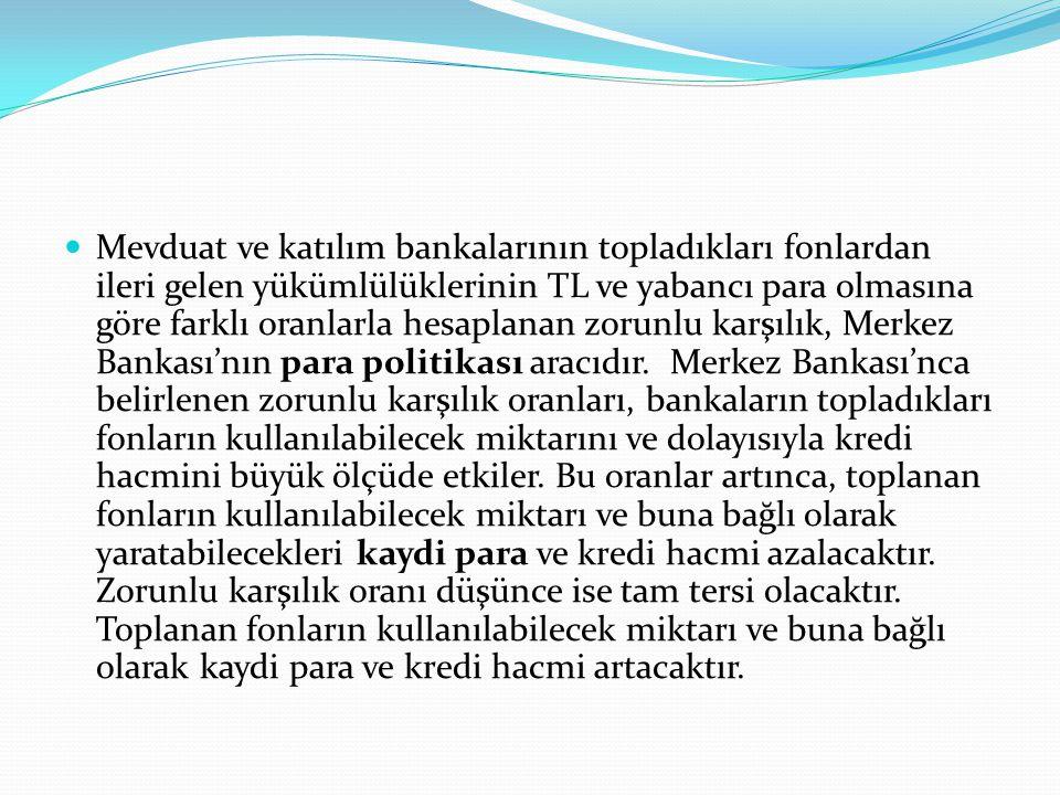 Mevduat ve katılım bankalarının topladıkları fonlardan ileri gelen yükümlülüklerinin TL ve yabancı para olmasına göre farklı oranlarla hesaplanan zorunlu karşılık, Merkez Bankası'nın para politikası aracıdır.