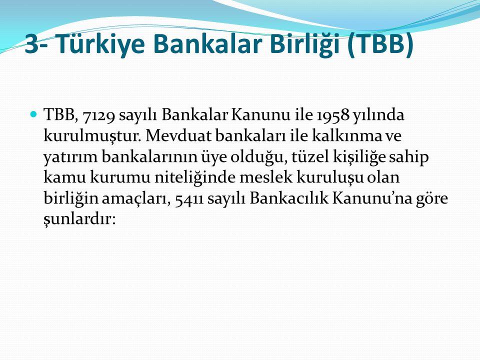 3- Türkiye Bankalar Birliği (TBB)