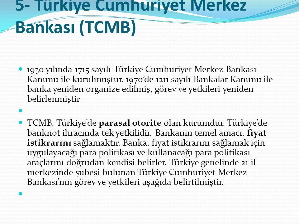 5- Türkiye Cumhuriyet Merkez Bankası (TCMB)