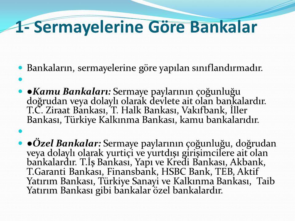 1- Sermayelerine Göre Bankalar