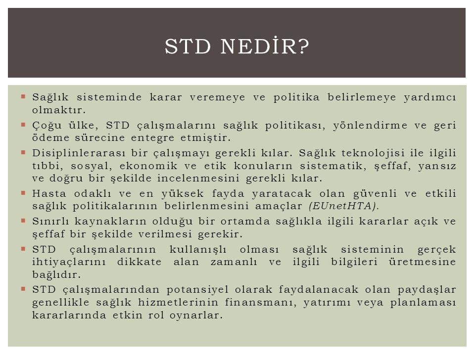STD Nedİr Sağlık sisteminde karar veremeye ve politika belirlemeye yardımcı olmaktır.