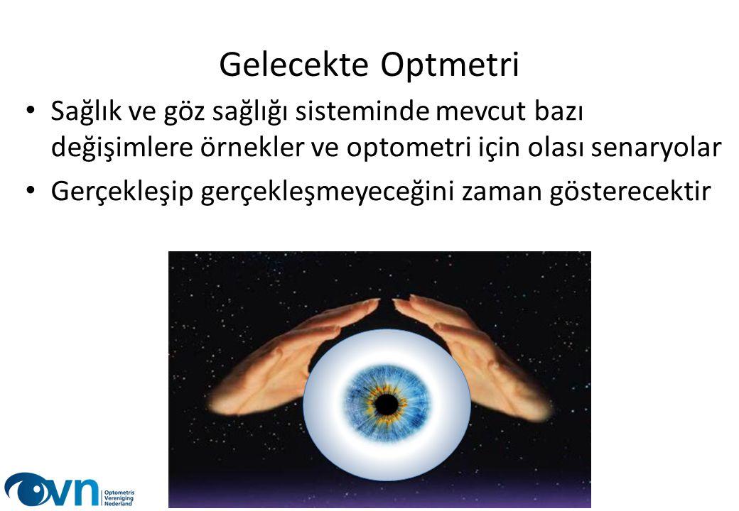 Gelecekte Optmetri Sağlık ve göz sağlığı sisteminde mevcut bazı değişimlere örnekler ve optometri için olası senaryolar.