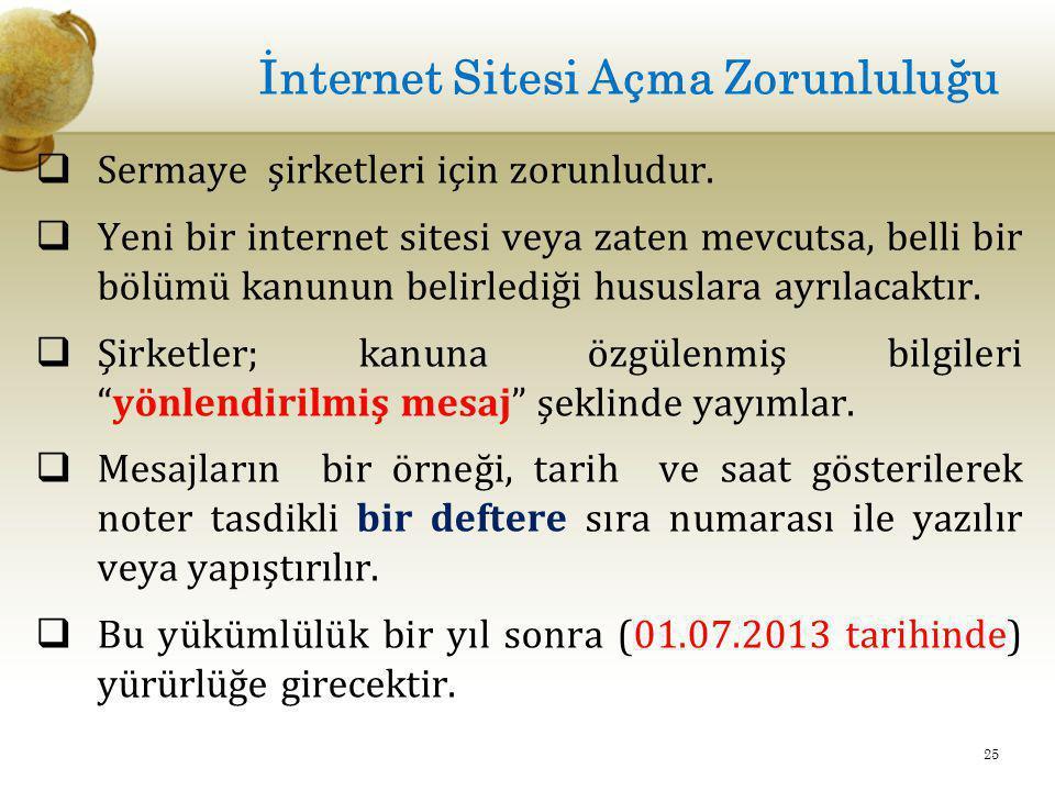 İnternet Sitesi Açma Zorunluluğu