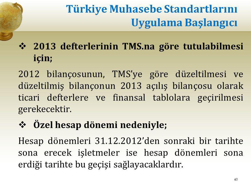 Türkiye Muhasebe Standartlarını Uygulama Başlangıcı