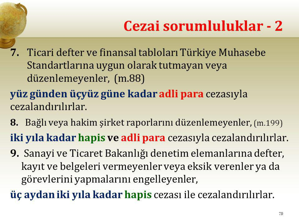 Cezai sorumluluklar - 2 7. Ticari defter ve finansal tabloları Türkiye Muhasebe Standartlarına uygun olarak tutmayan veya düzenlemeyenler, (m.88)