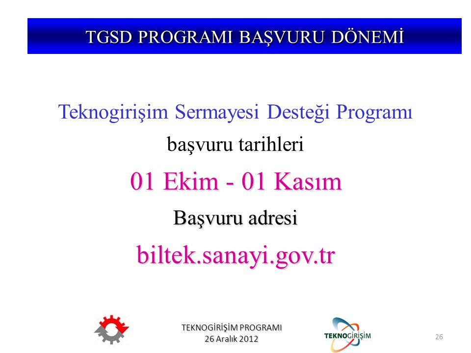 01 Ekim - 01 Kasım biltek.sanayi.gov.tr