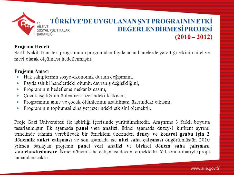 TÜRKİYE'DE UYGULANAN ŞNT PROGRAININ ETKİ DEĞERLENDİRMESİ PROJESİ