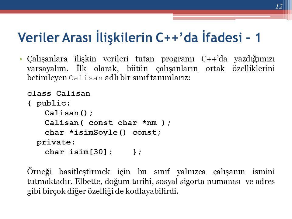 Veriler Arası İlişkilerin C++'da İfadesi - 1