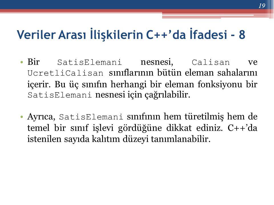 Veriler Arası İlişkilerin C++'da İfadesi - 8