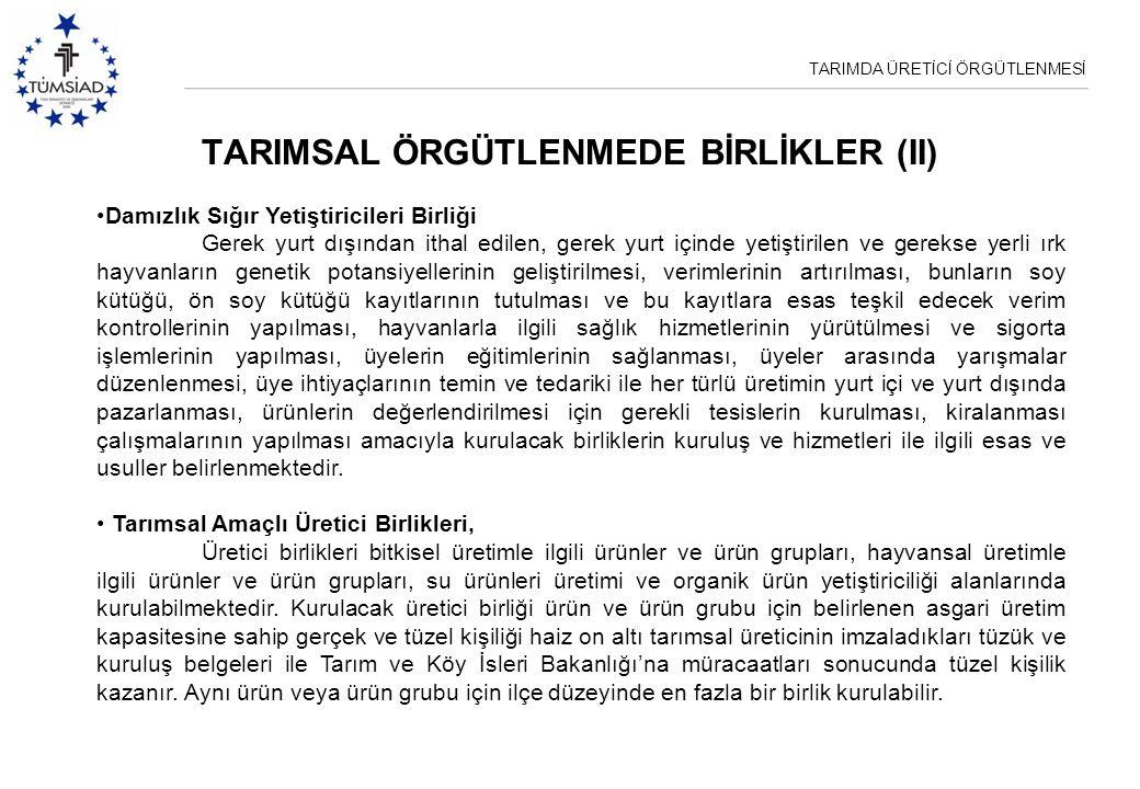 TARIMDA ÜRETİCİ ÖRGÜTLENMESİ