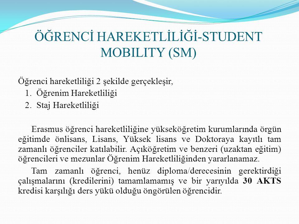 ÖĞRENCİ HAREKETLİLİĞİ-STUDENT MOBILITY (SM)