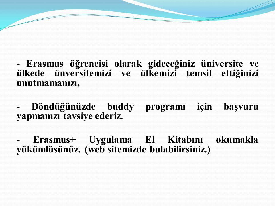 - Erasmus öğrencisi olarak gideceğiniz üniversite ve ülkede ünversitemizi ve ülkemizi temsil ettiğinizi unutmamanızı,