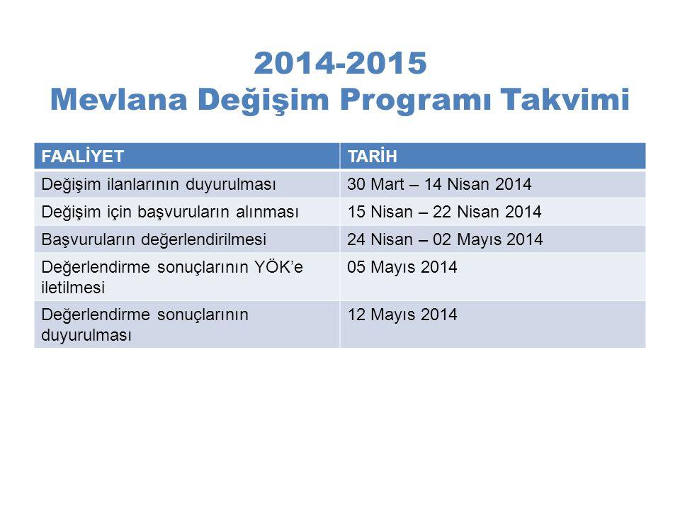 2014-2015 Mevlana Değişim Programı Takvimi
