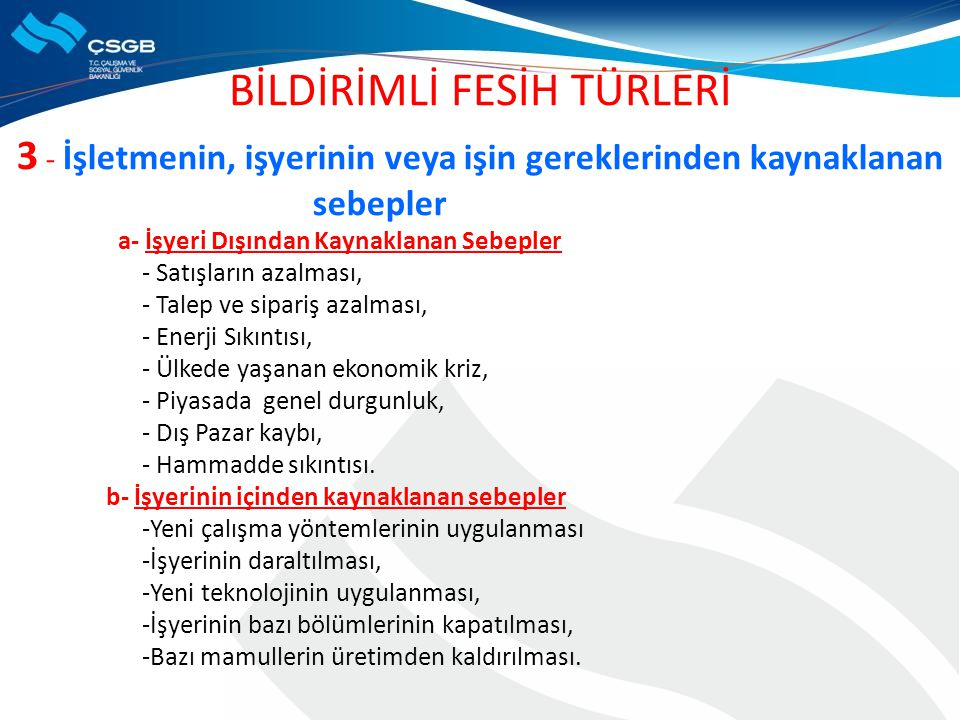 BİLDİRİMLİ FESİH TÜRLERİ