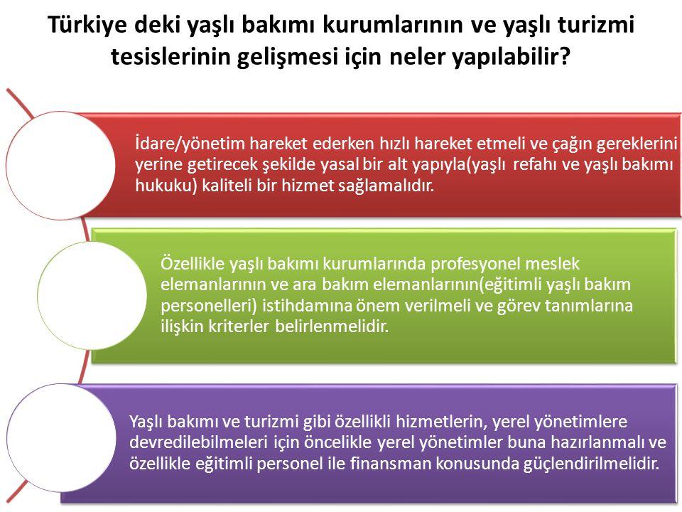 Türkiye deki yaşlı bakımı kurumlarının ve yaşlı turizmi tesislerinin gelişmesi için neler yapılabilir