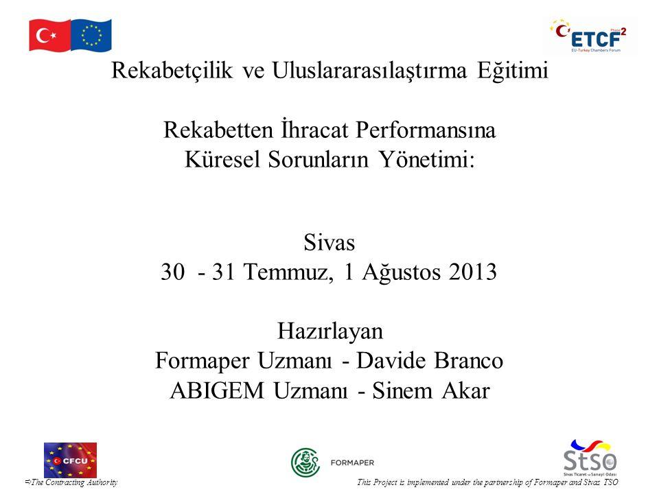 Rekabetçilik ve Uluslararasılaştırma Eğitimi Rekabetten İhracat Performansına Küresel Sorunların Yönetimi: Sivas 30 - 31 Temmuz, 1 Ağustos 2013 Hazırlayan Formaper Uzmanı - Davide Branco ABIGEM Uzmanı - Sinem Akar
