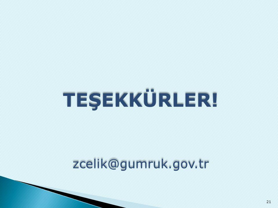 TEŞEKKÜRLER! zcelik@gumruk.gov.tr