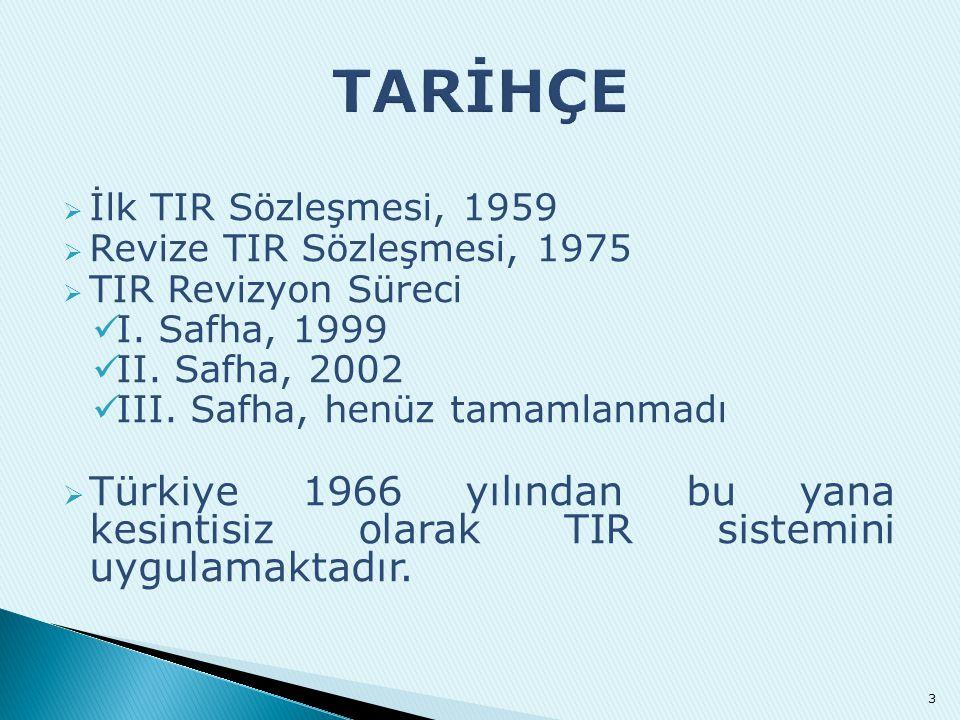 TARİHÇE İlk TIR Sözleşmesi, 1959. Revize TIR Sözleşmesi, 1975. TIR Revizyon Süreci. I. Safha, 1999.