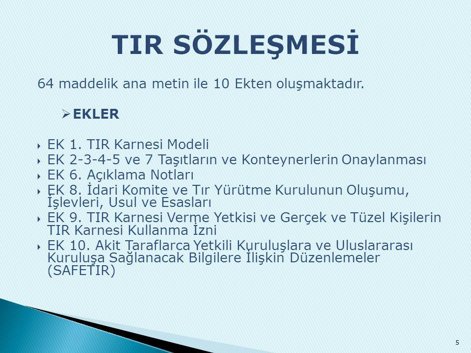 TIR SÖZLEŞMESİ EKLER EK 1. TIR Karnesi Modeli