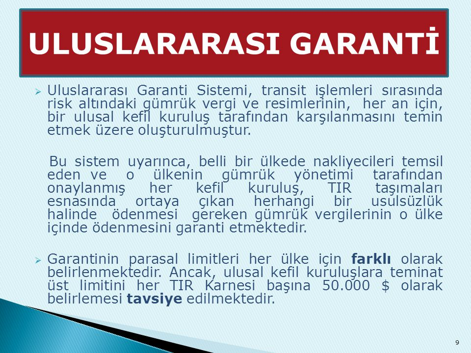 ULUSLARARASI GARANTİ