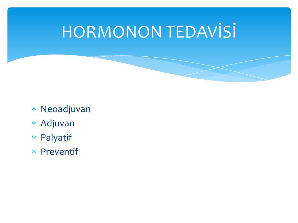 HORMONON TEDAVİSİ Neoadjuvan Adjuvan Palyatif Preventif