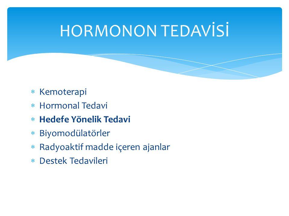 HORMONON TEDAVİSİ Kemoterapi Hormonal Tedavi Hedefe Yönelik Tedavi