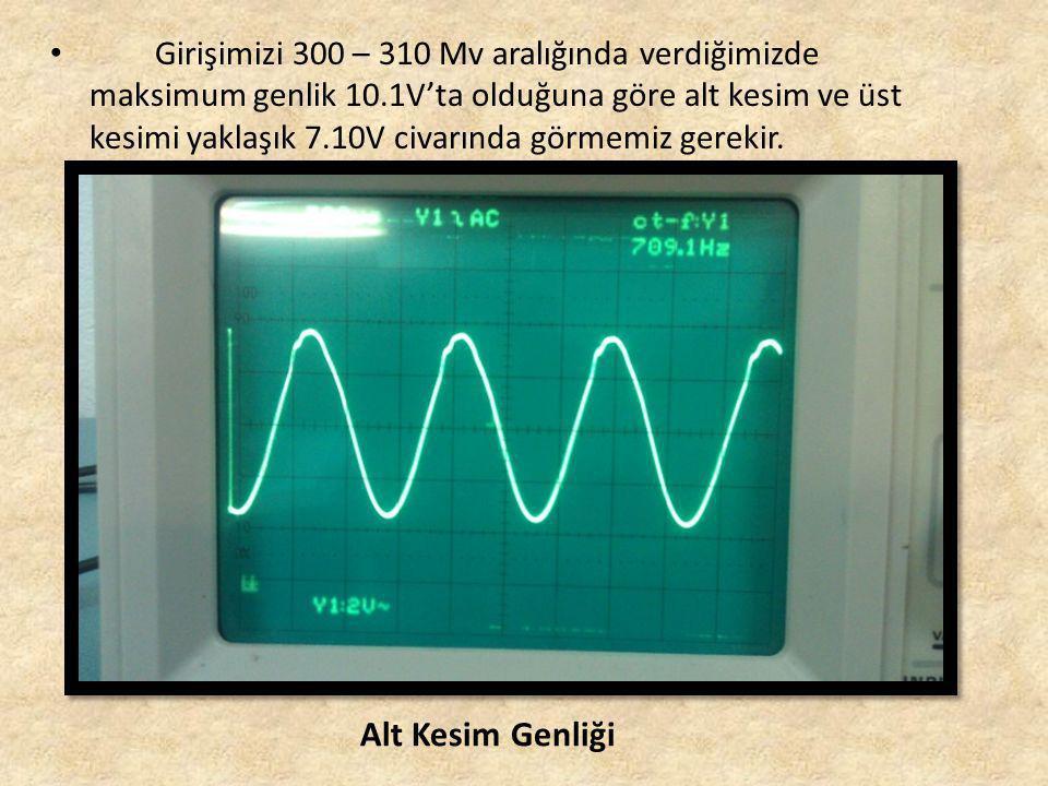 Girişimizi 300 – 310 Mv aralığında verdiğimizde maksimum genlik 10