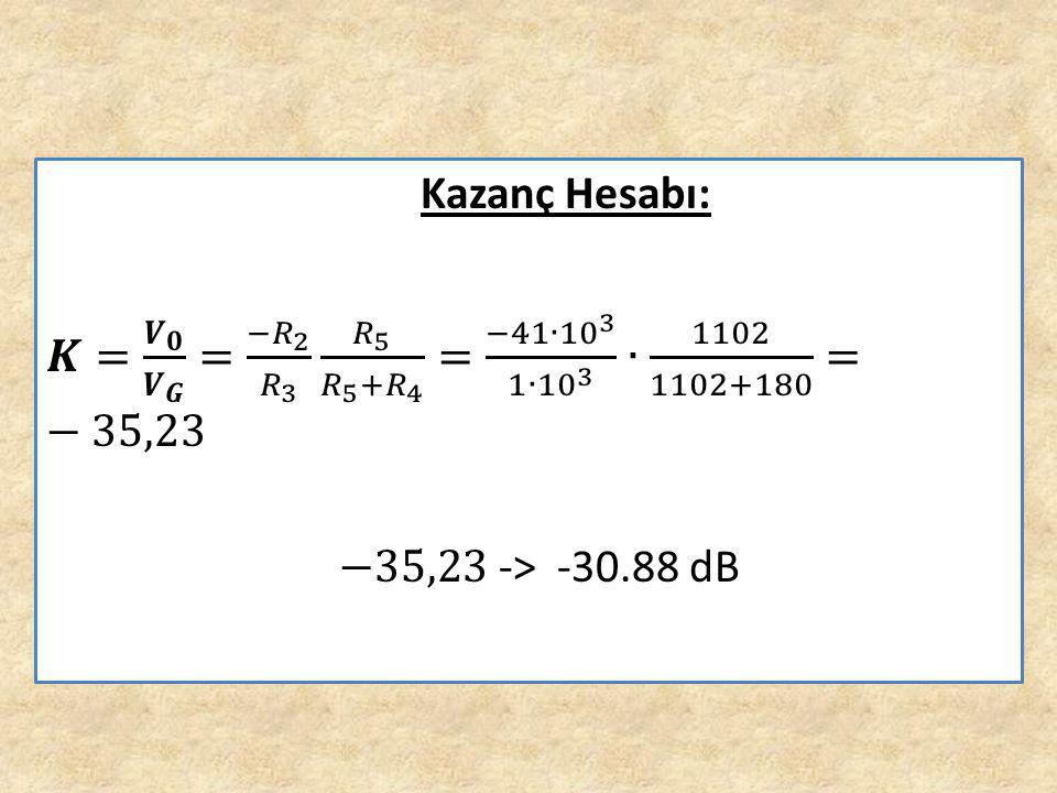 Kazanç Hesabı: 𝑲= 𝑽 𝟎 𝑽 𝑮 = − 𝑅 2 𝑅 3 𝑅 5 𝑅 5 + 𝑅 4 = −41∙ 10 3 1∙ 10 3 ∙ 1102 1102+180 =−35,23.
