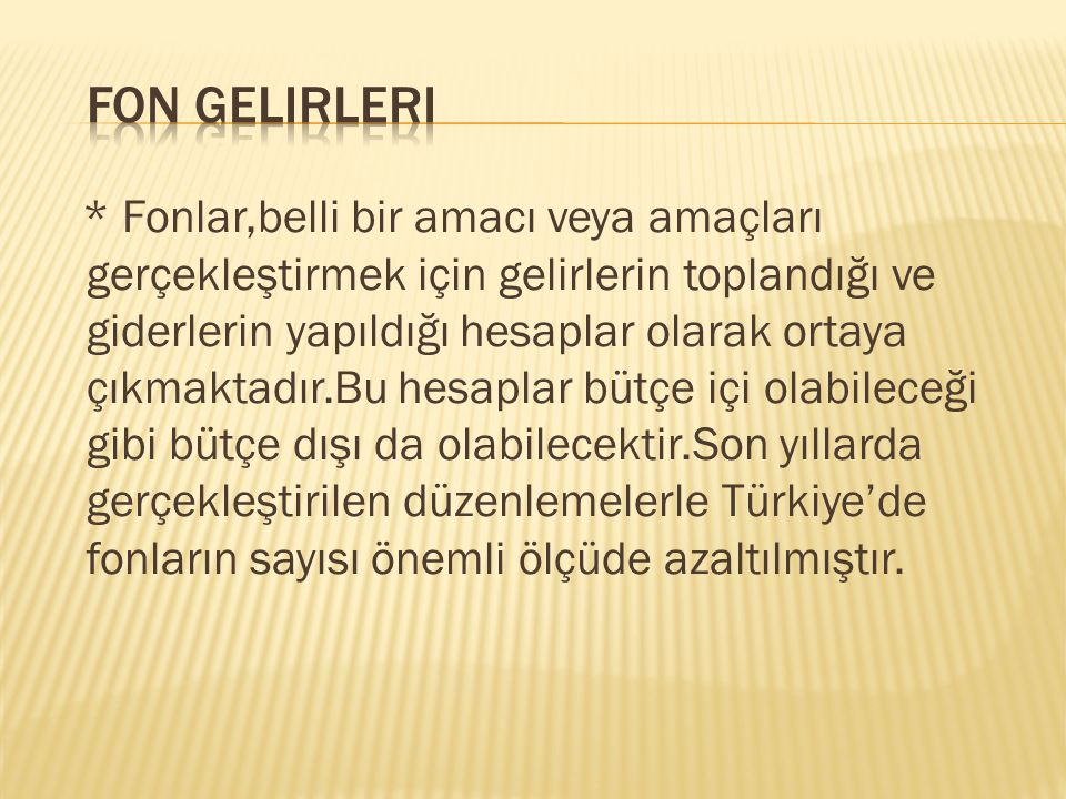 FON GELIRLERI