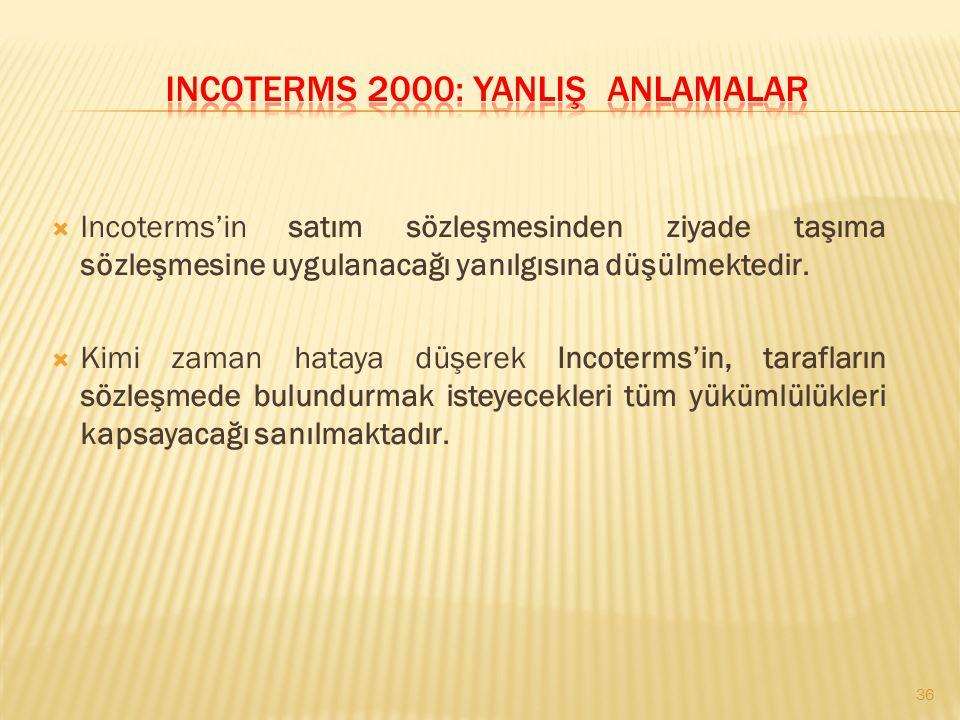 Incoterms 2000: Yanliş Anlamalar