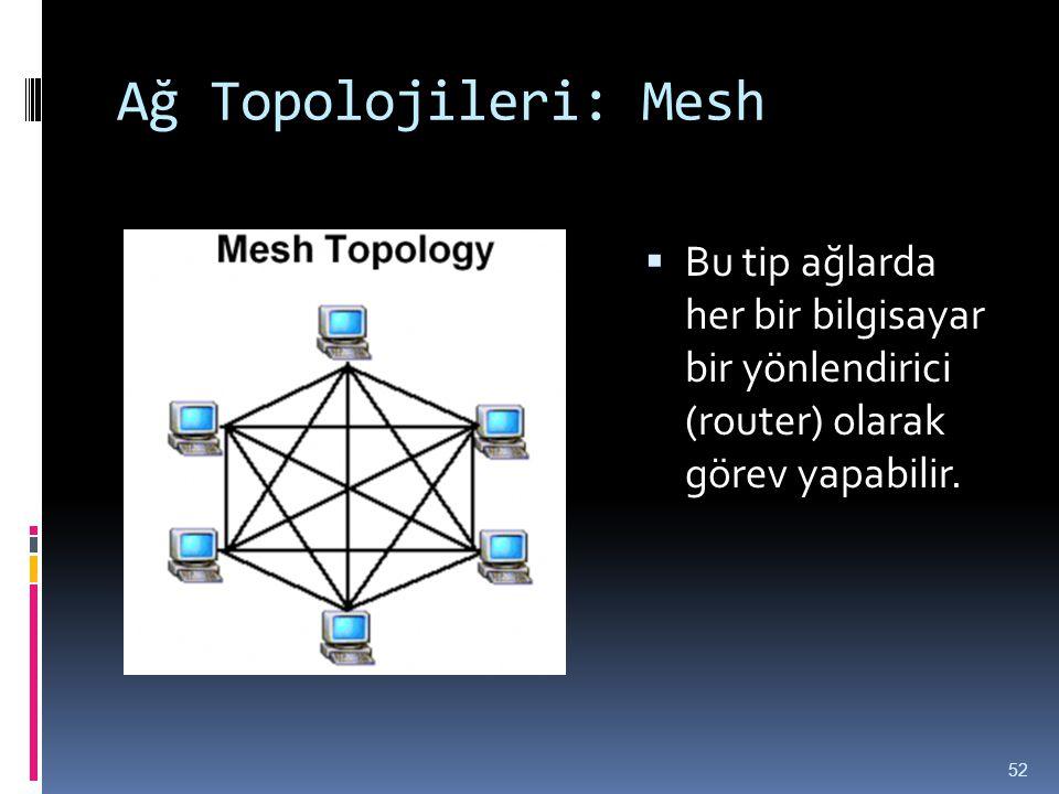 Ağ Topolojileri: Mesh Bu tip ağlarda her bir bilgisayar bir yönlendirici (router) olarak görev yapabilir.