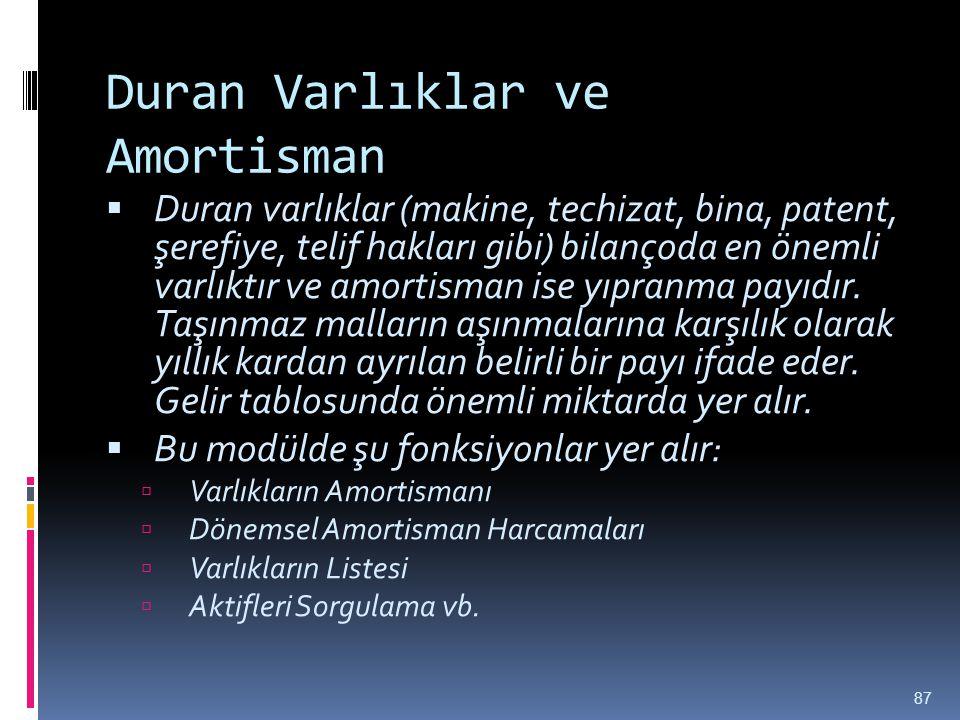 Duran Varlıklar ve Amortisman