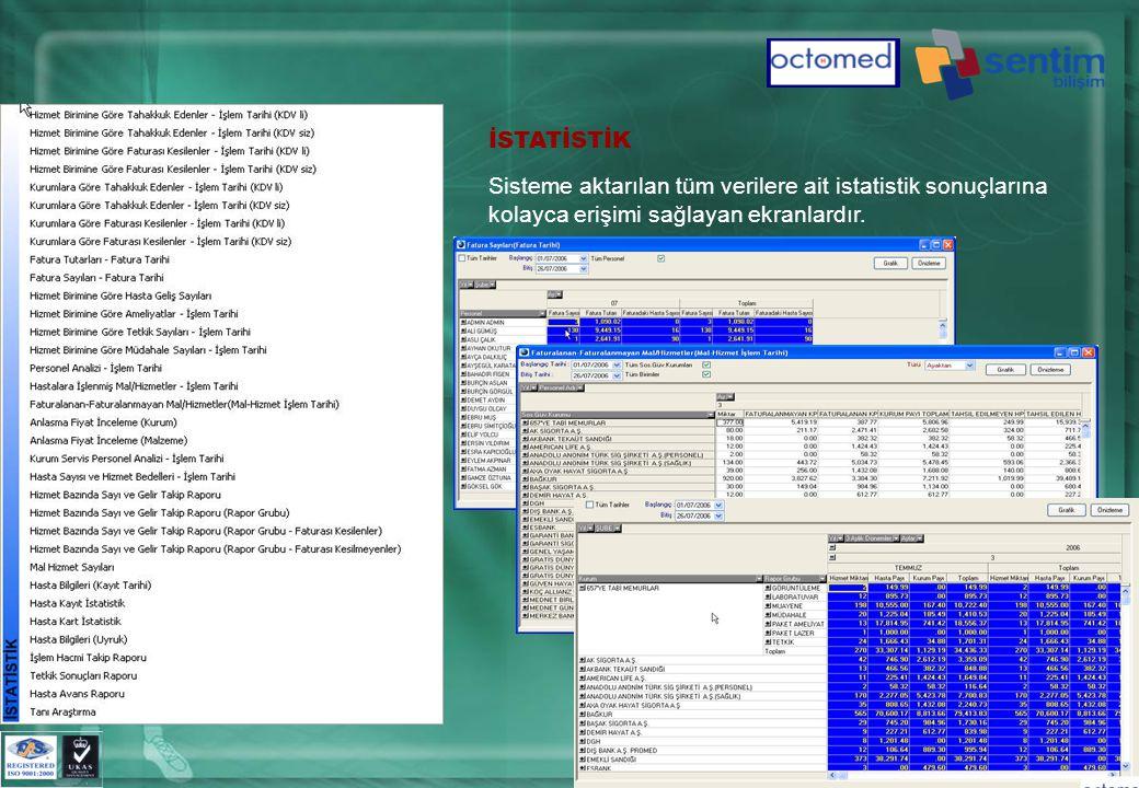 İSTATİSTİK Sisteme aktarılan tüm verilere ait istatistik sonuçlarına kolayca erişimi sağlayan ekranlardır.