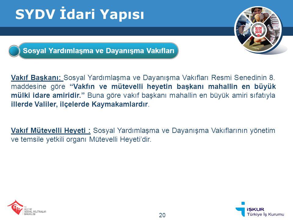SYDV İdari Yapısı Sosyal Yardımlaşma ve Dayanışma Vakıfları