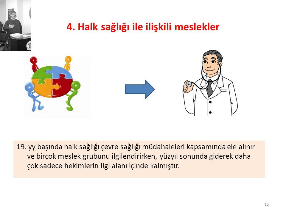 4. Halk sağlığı ile ilişkili meslekler