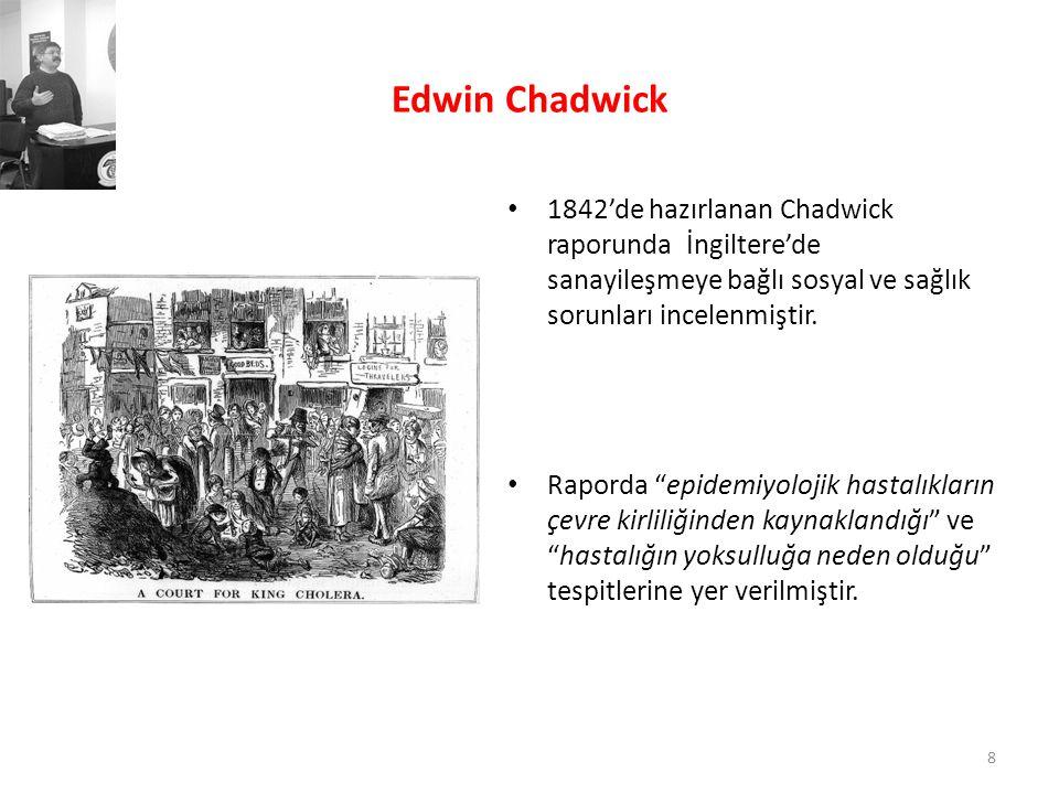Edwin Chadwick 1842'de hazırlanan Chadwick raporunda İngiltere'de sanayileşmeye bağlı sosyal ve sağlık sorunları incelenmiştir.