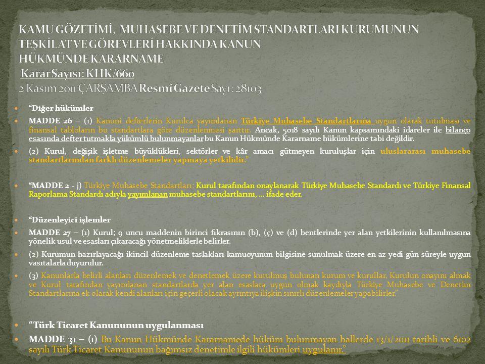 KAMU GÖZETİMİ, MUHASEBE VE DENETİM STANDARTLARI KURUMUNUN TEŞKİLAT VE GÖREVLERİ HAKKINDA KANUN HÜKMÜNDE KARARNAME Karar Sayısı: KHK/660 2 Kasım 2011 ÇARŞAMBA Resmî Gazete Sayı : 28103