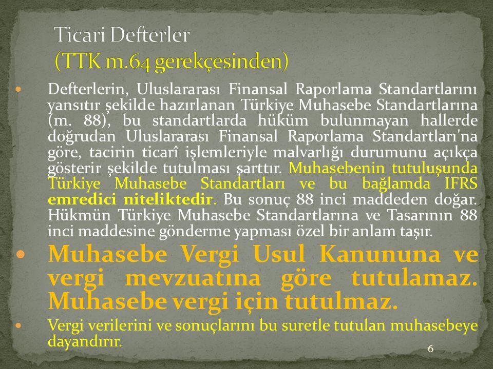 Ticari Defterler (TTK m.64 gerekçesinden)