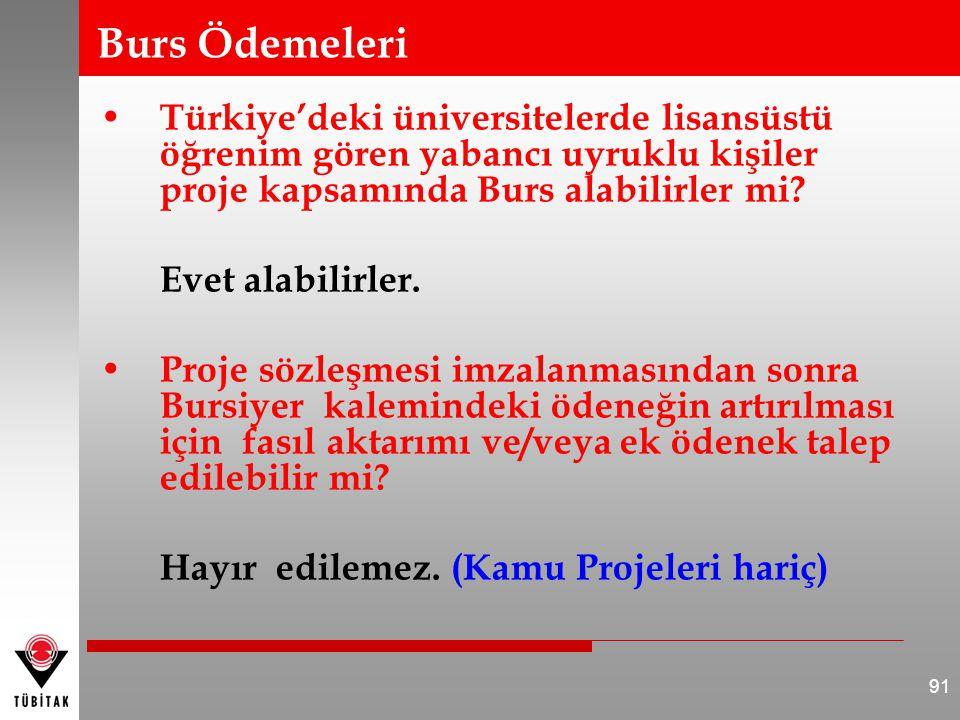 Burs Ödemeleri Türkiye'deki üniversitelerde lisansüstü öğrenim gören yabancı uyruklu kişiler proje kapsamında Burs alabilirler mi