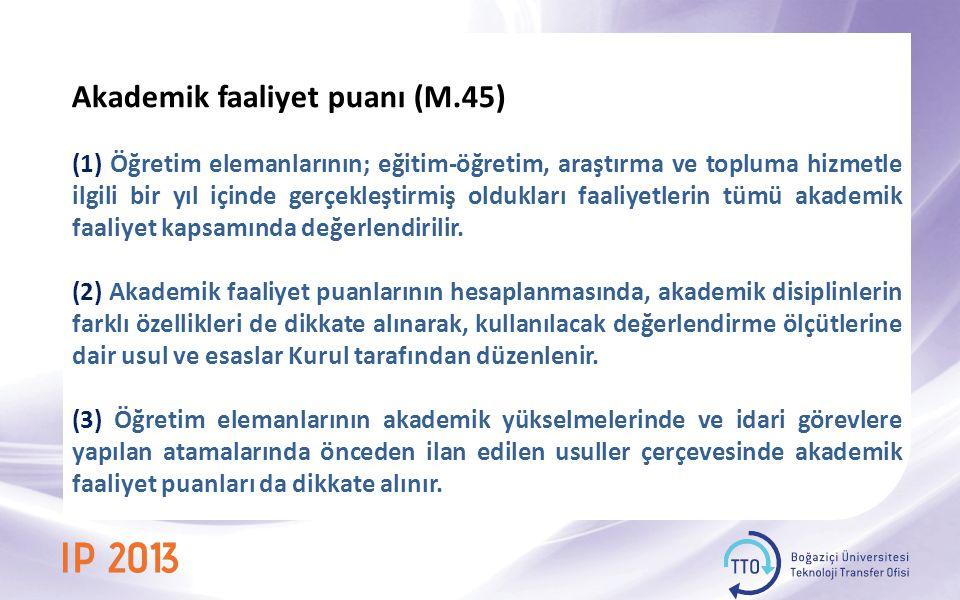 Akademik faaliyet puanı (M.45)