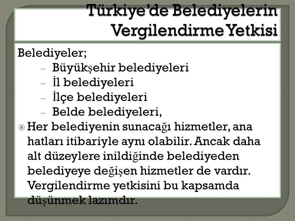 Türkiye'de Belediyelerin Vergilendirme Yetkisi