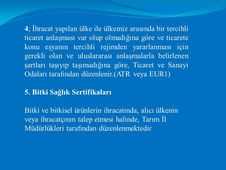 4; İhracat yapılan ülke ile ülkemiz arasında bir tercihli ticaret anlaşması var olup olmadığına göre ve ticarete konu eşyanın tercihli rejimden yararlanması için gerekli olan ve uluslararası anlaşmalarla belirlenen şartları taşıyıp taşımadığına göre, Ticaret ve Sanayi Odaları tarafından düzenlenir.(ATR veya EUR1)