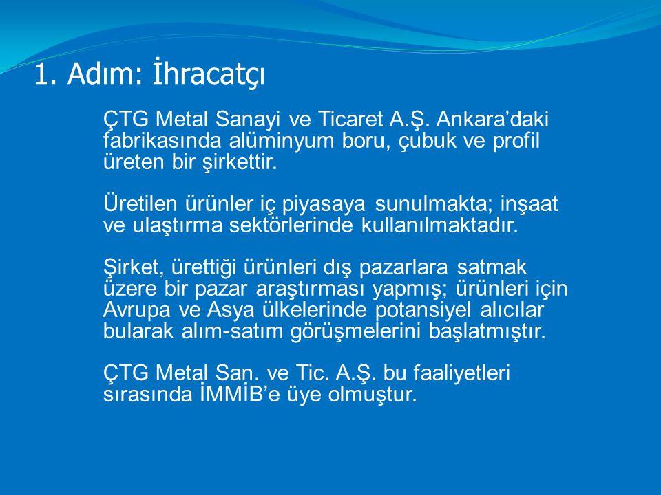 1. Adım: İhracatçı ÇTG Metal Sanayi ve Ticaret A.Ş. Ankara'daki fabrikasında alüminyum boru, çubuk ve profil üreten bir şirkettir.