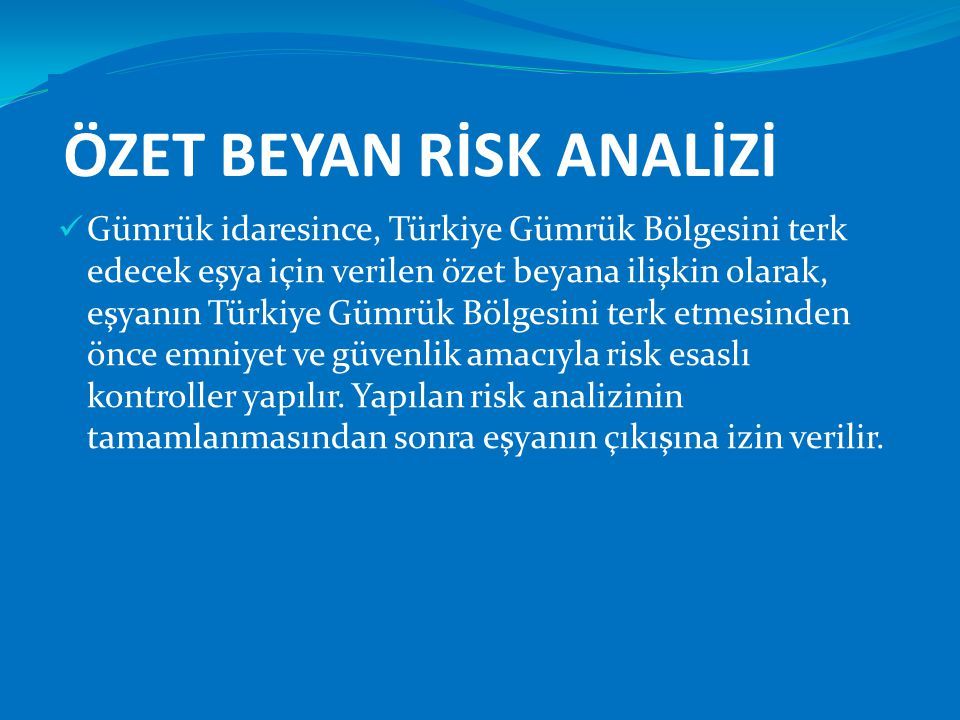 ÖZET BEYAN RİSK ANALİZİ