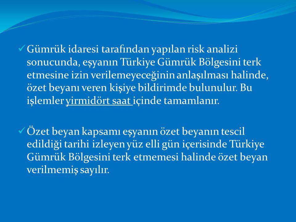 Gümrük idaresi tarafından yapılan risk analizi sonucunda, eşyanın Türkiye Gümrük Bölgesini terk etmesine izin verilemeyeceğinin anlaşılması halinde, özet beyanı veren kişiye bildirimde bulunulur. Bu işlemler yirmidört saat içinde tamamlanır.