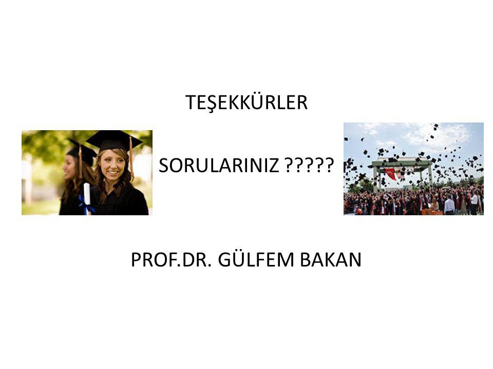 TEŞEKKÜRLER SORULARINIZ PROF.DR. GÜLFEM BAKAN