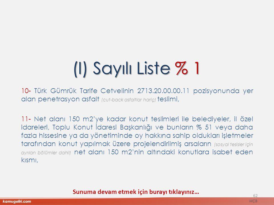 (I) Sayılı Liste % 1 10- Türk Gümrük Tarife Cetvelinin 2713.20.00.00.11 pozisyonunda yer alan penetrasyon asfalt (cut-back asfaltlar hariç) teslimi,