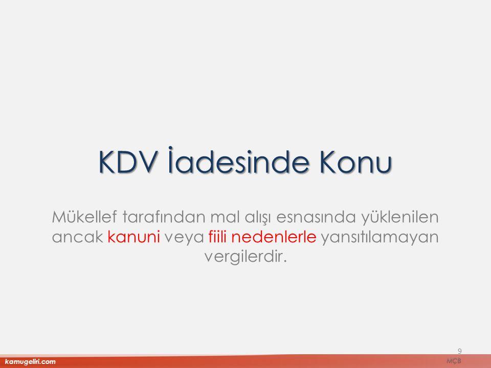 KDV İadesinde Konu Mükellef tarafından mal alışı esnasında yüklenilen ancak kanuni veya fiili nedenlerle yansıtılamayan vergilerdir.