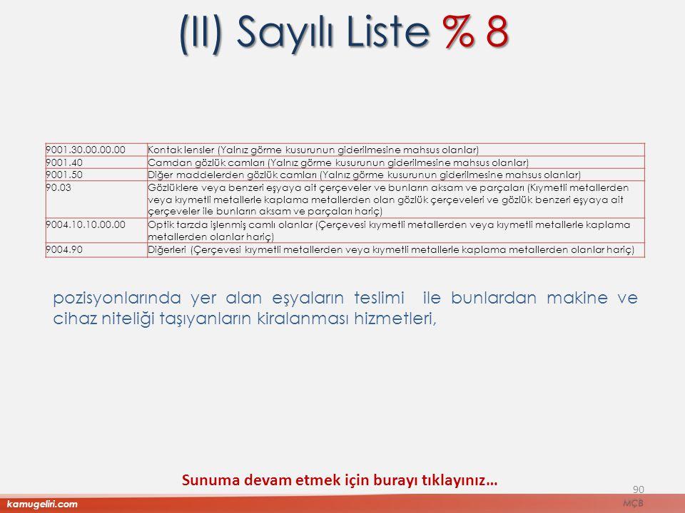 (II) Sayılı Liste % 8 9001.30.00.00.00. Kontak lensler (Yalnız görme kusurunun giderilmesine mahsus olanlar)